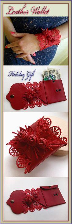 Leather wallet, Wrist wallet, Travel wallet, Wallet cuff, Anniversary leather Red bracelet Handmade