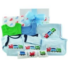 This cute train design baby gift hamper will make the perfect gift for a little train enthusiast! This train design hamper contains a winter body suit as well as a short sleeved body suit a bib and baby wrap blanket and 3 pairs of baby socks all with a cute train design as well as 2 matching baby singlets and a train printed muslin baby wrap all beautifully presented in a gloss gift box tied with matching ribbons and delivered direct to your door. Baby Wrap Blanket, Baby Gift Hampers, Choo Choo Train, Baby Wraps, Baby Boy Gifts, Baby Socks, Beautiful Gifts, Blue Ribbon, Baby Design