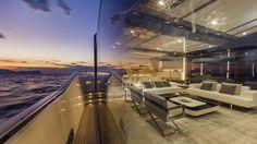 Mahari Joy floor lamps satin chrome   Nahoor   Designer William Pianta   Arcadia Yachts   Saloon