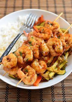 Slimming Eats Honey Garlic Shrimp - dairy free, gluten free, paleo, Slimming…