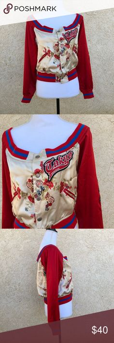 """Tokyo Denim Bank silk off the shoulder bomber Excellent condition silk jacket  By Tokyo Denim Bank  Size large  Off the shoulder style with a beautiful floral print down front and back  Solid red sleeves with blue trim  Snap button front  Fully lined   100% silk   Bust 19"""" Length 18.5"""" Tokyo Denim Bank Jackets & Coats Utility Jackets"""