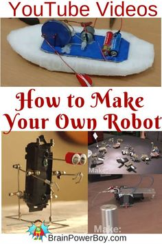 You can make your own robot with these neat you tube videos. part of our homeschool unit study on robots. Robotics Projects, Engineering Projects, Stem Projects, Science Projects, Projects For Kids, Easy Projects, Robotics Engineering, Science Fair, Teaching Science