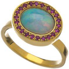 Rosamaria G Frangini Blue Opal Ring, Pink Sapphire Ring, Blue Rings, Opal Rings, Gemstone Rings, Diamond Jewellery, Opal Jewelry, Jewelry Rings, Magic Fingers