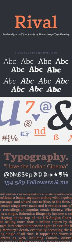 Rival - Rival is a modern serif font family inspired by characters drawn with a round nib, it has many dist...