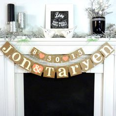 Wedding Garland / Custom Names Banner plus Date Banner / Wedding Banner / Couples Shower / Photo Prop / Engagement Party / Rustic Wedding via Etsy