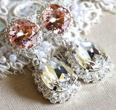 Silver Blush Chandelier Bridal Chandelier Swarovski by iloniti  #Bridal, #earrings, #silver, #blush #wedding, #crystal, #swarovski, #chandlier, #jewelry, #dangle, #pink, #peach, #style, #chic