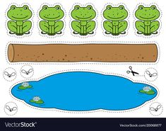 Cartoon frogs, log, pool and bugs cutting shapes. Five little speckled frogs game for children education. Print ready page , Kindergarten Songs, Preschool Songs, Preschool Lessons, Preschool Crafts, Free Preschool, Frog Activities, Frog Games, Toddler Learning Activities, 5 Little Speckled Frogs
