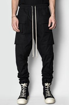 Men's black cotton drawstring creatch cargo pants from the AW17/18 collection from Rick Owens DRKSHDW.