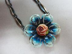 Blue Vintage Flower Medallion Necklace. $68.00, via Etsy.