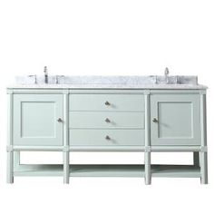 Martha Stewart Living Sutton 72 in. W x 22 in D Vanity in Rainwater with Marble Vanity Top in White/Grey with White Basins SUTTON at The Home Depot - Mobile Granite Vanity Tops, Marble Vanity Tops, Marble Top, Small Bathroom, Master Bathroom, Bathroom Ideas, Rv Bathroom, Silver Bathroom, Bathroom Stuff