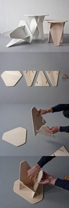 Andreas Kowalewski's Wedge Side Table is a Genius Single-Material Flatpack…