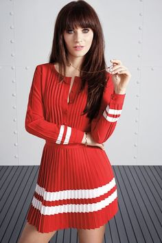 Zooey Deschanel's First-Ever Clothing Line Has Arrived! To Tommy, From Zooey Campaign Zooey Deschanel Hair, Tommy Hilfiger, Indie, Most Beautiful Faces, Belleza Natural, New Girl, Look Fashion, Girl Crushes, Dress Skirt