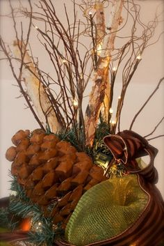 christmas woodland theme | Woodland Themed Christmas Tree, topped with huge sugar cones, birch ...