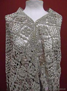 MANTON ANTIGUO TEJIDO CON CINTA DE SEDA. S XIX (Antigüedades - Moda - Complementos - Mujer - Mantones Antiguos)