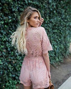 ae163bd024c6 Hera Lace Romper - Blush Blush Pink Outfit