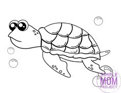 Are you looking for a baby sea turtle coloring page? This free to print cartoon turtle is perfect for kids of all ages including preschoolers, kindergartners and toddlers. You can use this free turtle template to teach your kids about the letter T or by starting your own ocean animal coloring book. Print yours now! #Seaturtlecoloring #turtlecoloring #Oceananimalcoloring #SimpleMomProject Dolphin Coloring Pages, Turtle Coloring Pages, Mandala Coloring Pages, Animal Coloring Pages, Coloring Books, Cute Turtle Drawings, Sea Creatures Crafts, Cute Baby Turtles, Turtle Book