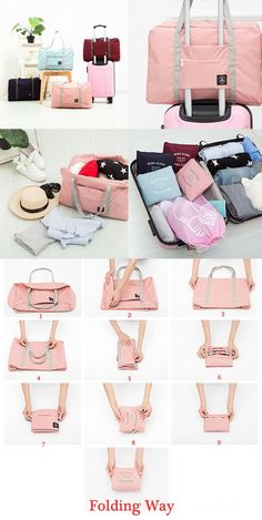 $9.99 Women Men Folding Waterproof Luggage Bags Unisex Fitness Bag Outdoor Travel Bags (Travel Gadgets Bags)