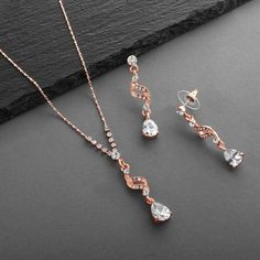 3 Sets Sparkling Rose Gold CZ Teardrop Bridesmaid Jewelry Crystal Necklace, Necklace Set, Budget Wedding, Wedding Ideas, The Chic, Bridesmaid Jewelry, Beautiful Roses, Wedding Accessories, Dangle Earrings