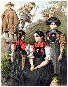 Tyrol From Deutsche Volkstrachten (German folk costumes), written and illustrated by Albert Kretschmer, Leipzig, 1887. (Source: archive.org)
