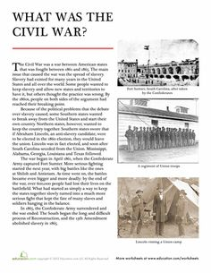 Help your child understand the basics of how the Civil War began and ended in this simple summary sheet that answers the question: what was the Civil War? US history. American History Lessons, World History Lessons, History Facts, History Timeline, History Memes, History Photos, History Books, 8th Grade History, Middle School History