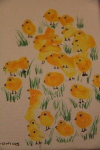 Finger Print Chicks for Easter; could use different colors and make a family