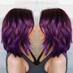 Violet and magenta lob to lust after by @butterflyloftsalon.