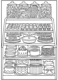 Dover Publications/ coloring pages for adults Food Coloring Pages, Coloring Pages For Grown Ups, Printable Coloring Pages, Free Coloring, Coloring Sheets, Coloring Books, Kids Colouring, Free Adult Coloring Pages, Clipart