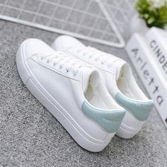 Woman Pu Leather Tenis Feminino Lace-up White Sneakers Size White Fashion Sneakers, Womens Fashion Sneakers, Womens Shoes Wedges, Fashion Shoes, Sneakers Women, Womens White Sneakers, Tenis Casual, Casual Sneakers, Casual Shoes