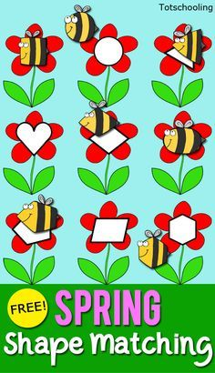 FREE Shape matching activity for toddlers and preschoolers featuring bees and flowers. Perfect for Spring, Summer, or a bug theme!