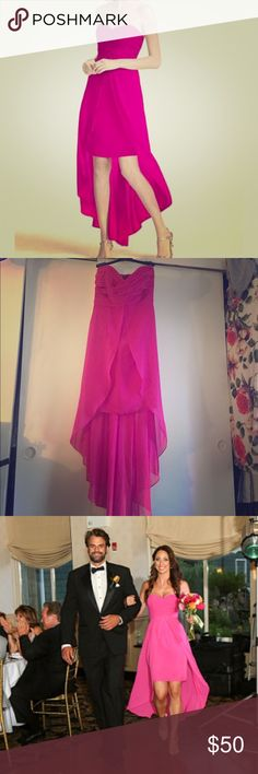 Formal summer dress Fuschia colored strapless chiffon high-low dress. Worn once. Perfect for dressy summer or beach wedding or charity event. Dry cleaned. David's Bridal Dresses Strapless