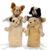 FOUR STEIFF MOHAIR PUNCH-DOG GLOVE PUPPETS, (317), one Punch
