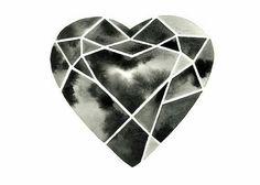Black & White geometric heart.