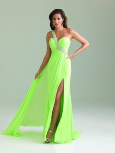 #NightMovesProm 6424 Lime prom dress, one shoulder prom dress, #InternationalProm #Prom #Promdress #Prom360
