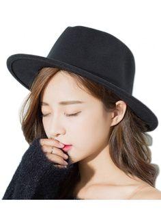 f530a92d5fd Women or Men Woolen Straw Fedora Vintage Short Brim Crushable Jazz Hat - Autumn  Winter- Black - CN184XWWNN5
