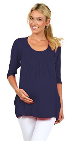 Angelo Nursing and Maternity Shirt with 34 Sleeves and Pockets Medium Navy -- Learn more by visiting the image link. (This is an affiliate link and I receive a commission for the sales) Nursing Wear, Nursing Tops, Maternity Nursing, Pregnancy Shirts, Pregnancy Tips, Work Tops, Breastfeeding, Tunic Tops, Pockets