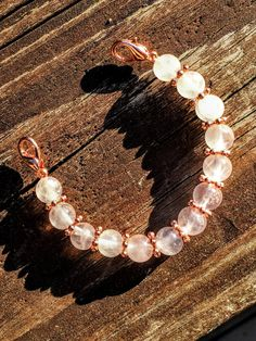 Rose quartz beaded bracelet for the LEAF by by LadyLeafCo on Etsy