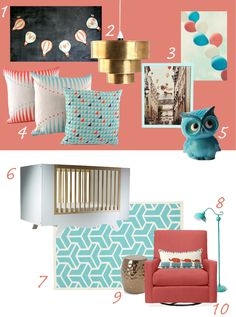 My Modern Nursery #57 Coral and Aqua for a girl but not too girly