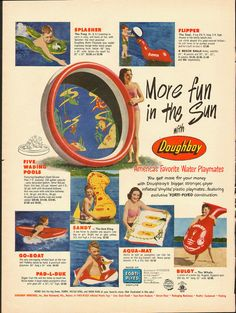 1951 Vintage ad. DOUGHBOY Inflatable swimming pool and pool toys- 061512
