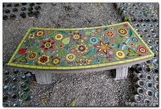 mosaic stone benches for the garden