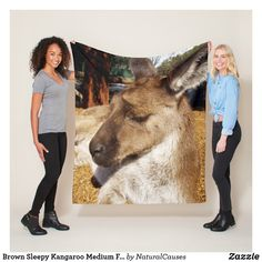 Brown Sleepy Kangaroo Medium Fleece Blanket