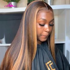 Ali Coco #4/30 Highlight Colored Human Hair Wigs Pre Plucked Lace Front Human Hair Wigs Ombre Remy Frontal Wig For Black Women - Color4 30 / 18inches / 180Density 13x4x1Wig