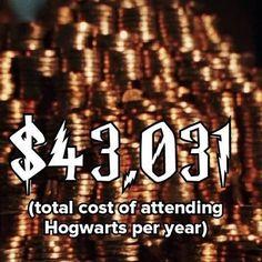 Cost of Hogwarts per year...WORTH IT!