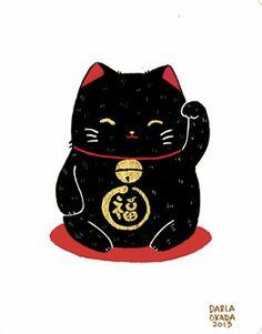 Two Black Cats Studio by Darla Okada: Lucky Cats and Stickers Maneki Neko, Neko Cat, Lucky Cat Tattoo, Pizza Art, Black Cat Tattoos, Japanese Cat, Kawaii Illustration, Graffiti, Ragdoll Kittens