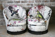 Furniture - Timorous Beasties - BIRD BLEED TUB CHAIRS UPHOLSTERY: CUSTOM HAND PRINTED BIRDS N BEES FABRIC
