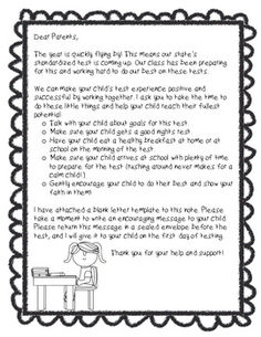 This Is A Great Letter To Give Your Students Before They Take A