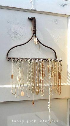 rake as necklace holder