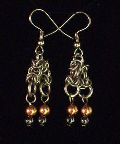 Copper, Hematite and Stainless Steel Byzantine Chandelier Hook Earrings via https://www.etsy.com/shop/AndraCassidy
