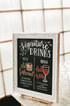 Wedding Signature Drinks Bar Menu Sign with Illustrations on Chalkboard // bar signage, wedding details, signature cocktails Wedding Signage, Wedding Menu, Wedding Reception, Wedding Day, Dream Wedding, Wedding Chalkboards, Wedding Shoes, Wedding Timeline, Wedding Bar Signs