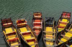 Boats on lake in Nainital, India, 2012.