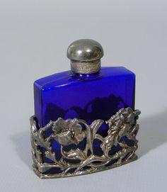 beautiful vintage small Cobalt blue glass perfume bottle